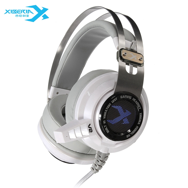 Original XIBERIA V2U Gaming Headphones 7.1 USB Super Bass Gaming Headset With Microphone PC Gamer Light Vibration Headphone original xiberia v5 usb wired gaming headphone super bass stereo headset microphone over ear noise lsolating pc gamer headphones