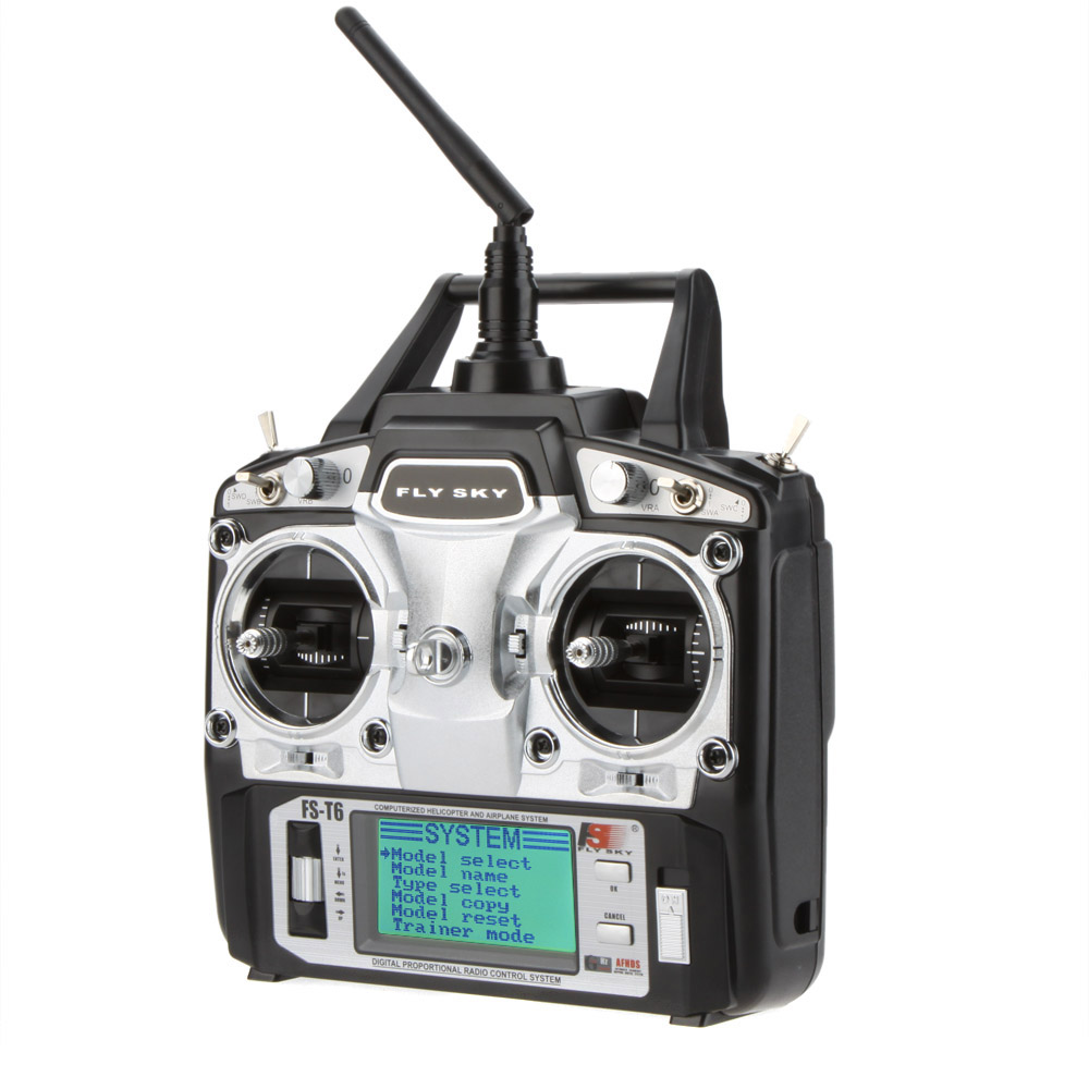 Flysky FS-T6 6CH 2 4G LCD Transmitter R6B Receiver Digital Radio System for  RC Helicopter Quadcopter Glider Airplane