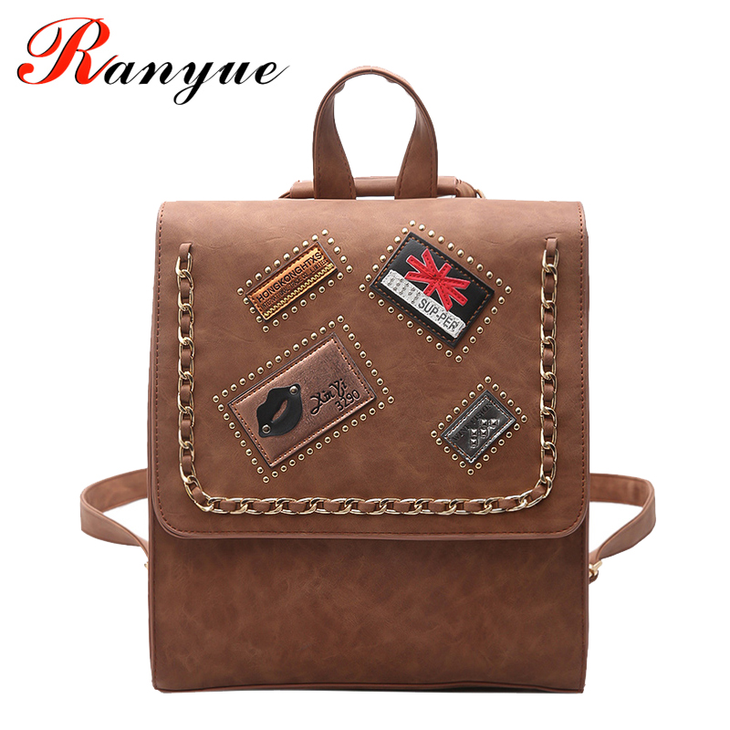 RANYUE Famous Designer Brand Backpack Women Leather High Quality School Bags For Teenagers Girls 2017 Vintage Rucksacks For Girl high quality iron wire frame sun glasses women retro vintage 51mm round sn2180 men women brand designer lunettes oculos de sol