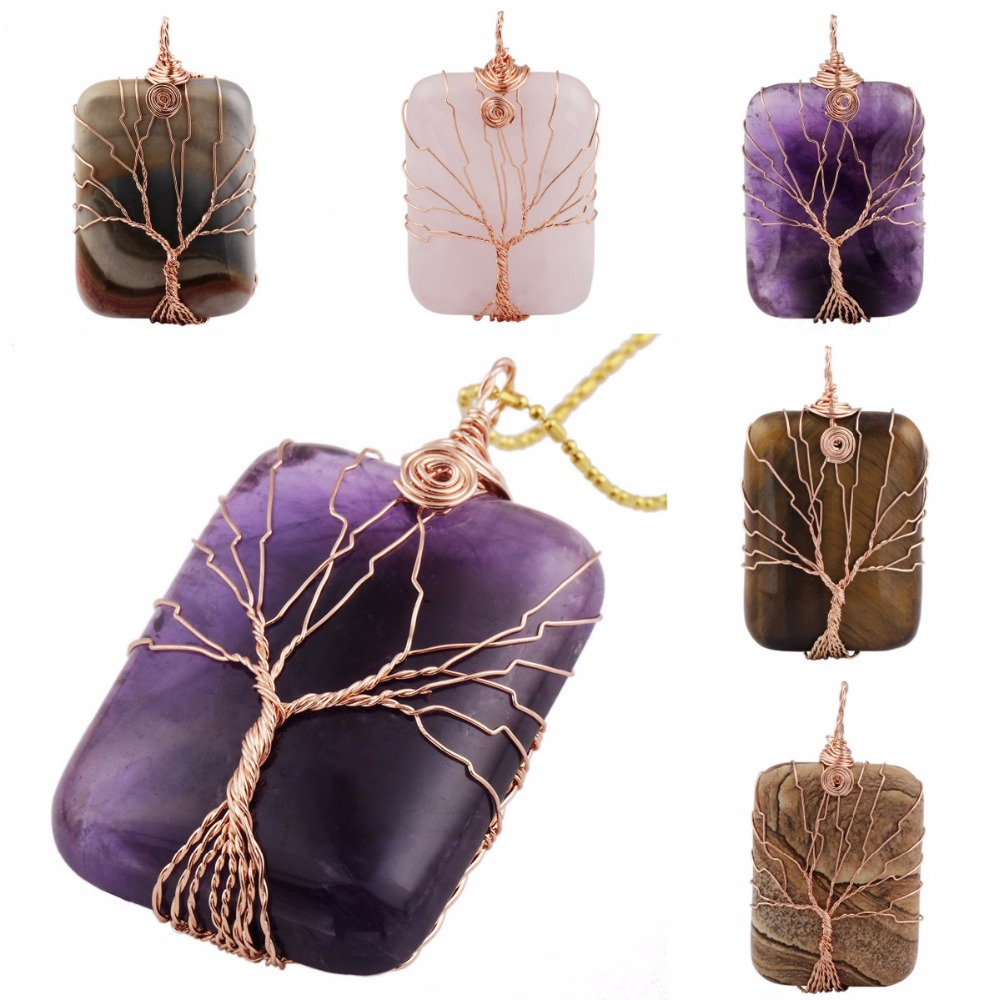 Sunyik Rectangle Gem Stone Copper Wire Wrapped Tree Of