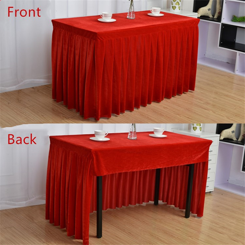 100% Polyester One Piece Pleated Flannel Hotel Table Skirt With Table Cloth Table Cover Wedding Party Banquet Decor