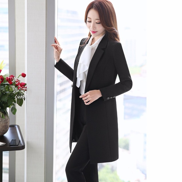2018 New Winter Women Long Blazer Elegant Long Sleeve Formal  For Office Lady Black Blue Red 2