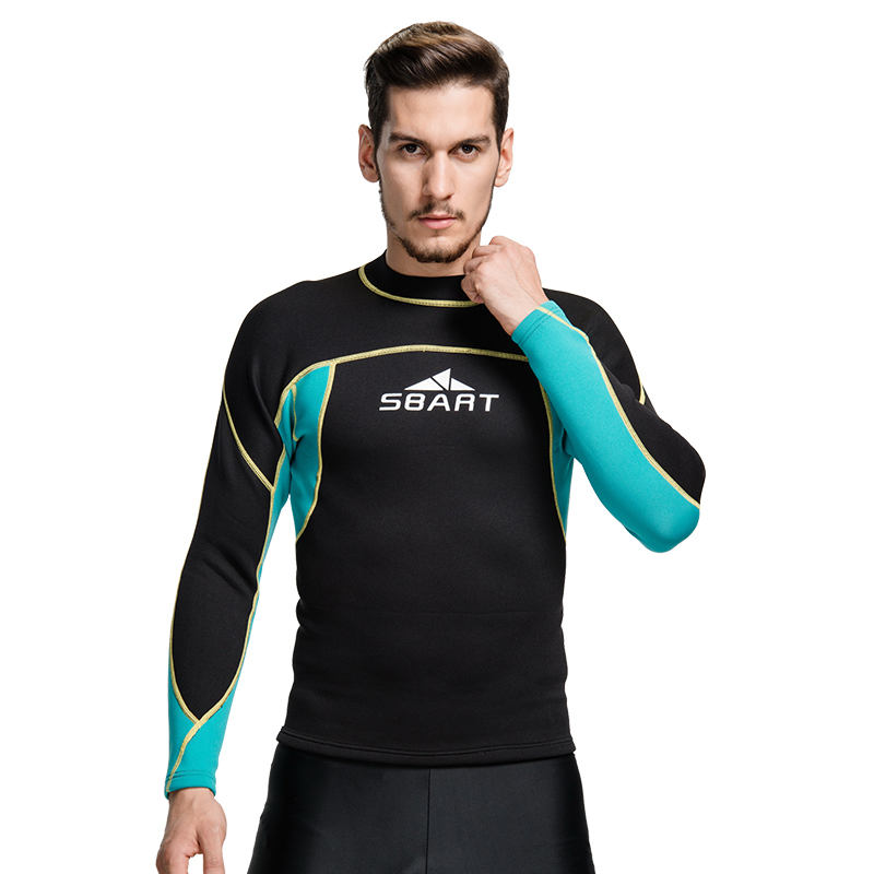 SBART 2MM Wetsuit Shirt Mens Neoprene T Shirts Surfing Wetsuits Top Men Diving Swimming T-shirt Surf Long Sleeve Rashguard Q739 classic plaid pattern shirt collar long sleeves slimming colorful shirt for men