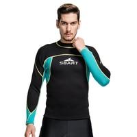 SBART 2MM Wetsuit Shirt Mens Neoprene T Shirts Surfing Wetsuits Top Men Diving Swimming T shirt Surf Long Sleeve Rashguard Q739