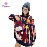Spring Autumn Sweater Women Clothes Fashion Plus Size Christmas Sweater Loose Appliques Long sleeves Pullover Long Coat LRY187
