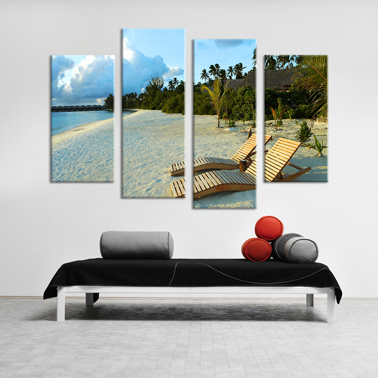 4 Panels oil painting The beach  Wall Art Home Decoration Living Room Print On Canvas Modern oil Painting