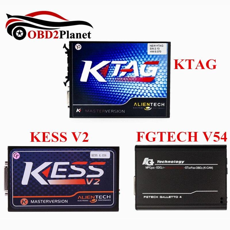 Aucune Limitation de jeton KESS V2 V2.32 Kit de réglage OBD2 + KTAG V2.13 outil de programmation ECU + V54 FGTech Galletto 4 Master expédition rapide