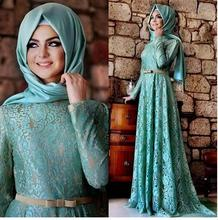 2017 New Muslim Evening Dresses A-line Long Sleeve Mint Green Lace Hijab Islamic Dubai Abaya Kaftan Long Evening Gown Prom Dress