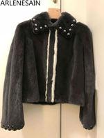 Arlenesain custom mink fur 2019 new fashion design contrast beaded pastel women jacket