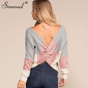 Criss Cross Backless Women Sweaters and Pullovers