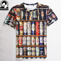 Fashion Hot Sales 2016 Hip Hop T Shirt Men 3D Stacked Beer Bottles Cans Funny Tee