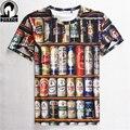 Moda de Vendas Quente 2016 Hip hop T shirt Dos Homens 3D Empilhados Latas Garrafas De cerveja engraçado camiseta, Marca de design dos homens vestuário Frete Grátis
