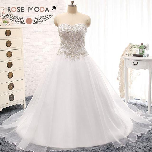 b4d87ebbd65b6 Потрясающие Вышивка линия свадебное платье ручной бисером корсет Плюс  Размеры Свадебные платья настоящая фотография