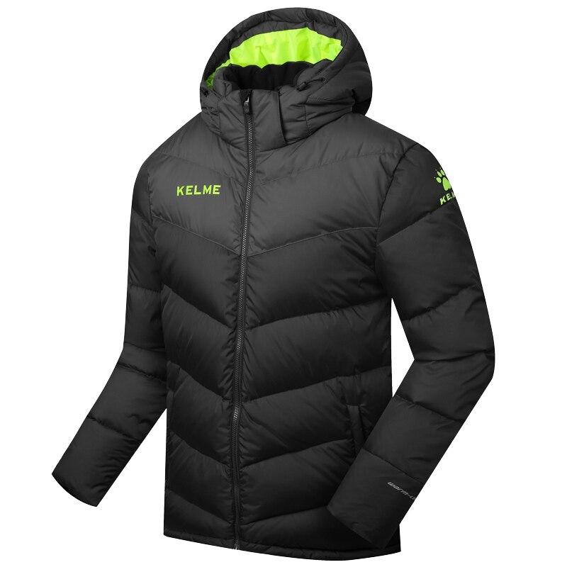 En gros 2016 Kelme K090S hommes moyen-long à capuche hiver garder au chaud manteau entraînement Sport Football doudoune noir