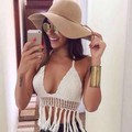 Women Hollow Out Crochet Crop Top Bikini Bralets Beach Knit Camisoles Summer Knitted Camis Vest New 2015 Free Shipping 41