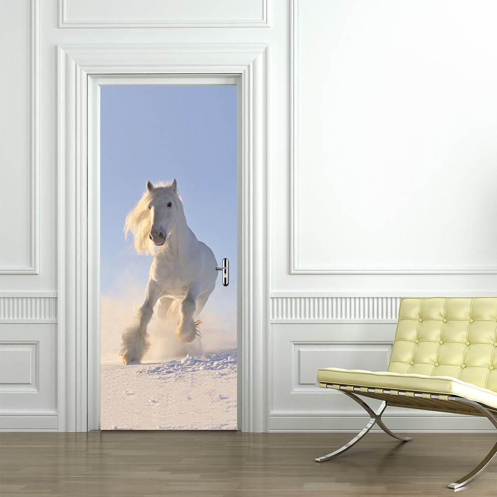 3D White Horse Door Wall Sticker Wallpaper Self-adhesive Imitation Kid's Room Living Room Mural Poster New Home Decoration