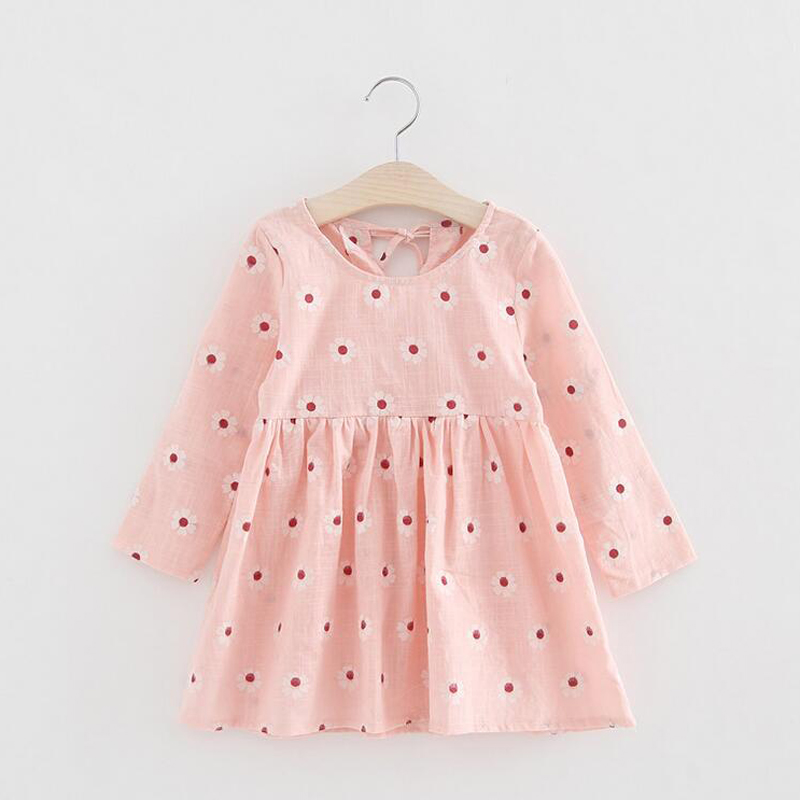 Hot Sale New Summer Girls Dress Print Flower Kids Clothes Vintage Fashion O-neck Casual Princess Dresses Children Clothing XL125