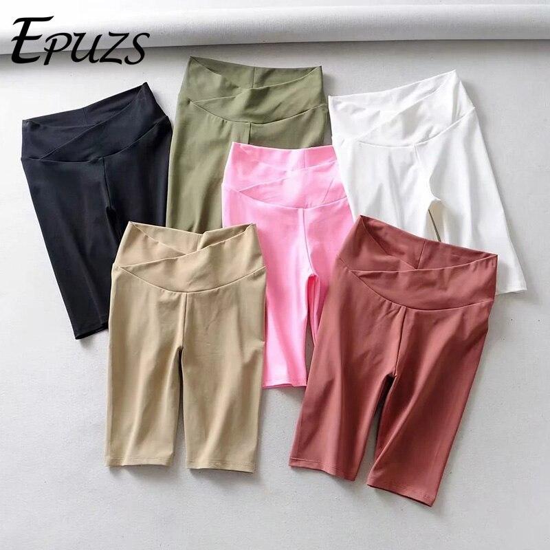 Sexy Elastic high waist   shorts   women neon biker   shorts   vintage korean style Streetwear black summer   short   femme