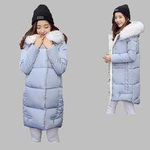 Autumn Winter 2016New Fashion Women Down jacket Loose Big yards Leisure Hooded fur collar Super Keep warm Medium long Coat G1297