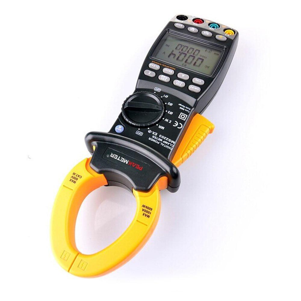 PEAKMETER MS2203 9999 Counts Auto Range AC Digital Power Clamp Meter Multimeter AC DC Voltage Current Active Apparent Reactive  цены