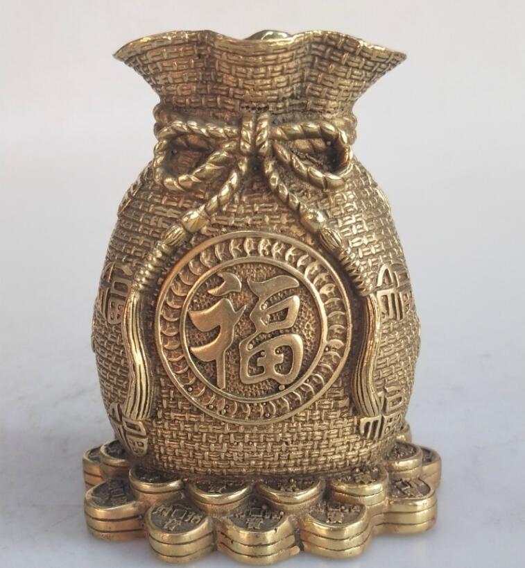 Statue en laiton de poche de richesse sculptée à la main Fine décoration de la maison artisanat en métal sculpture en cuivre/bronze Collection de mascotte Feng Shui