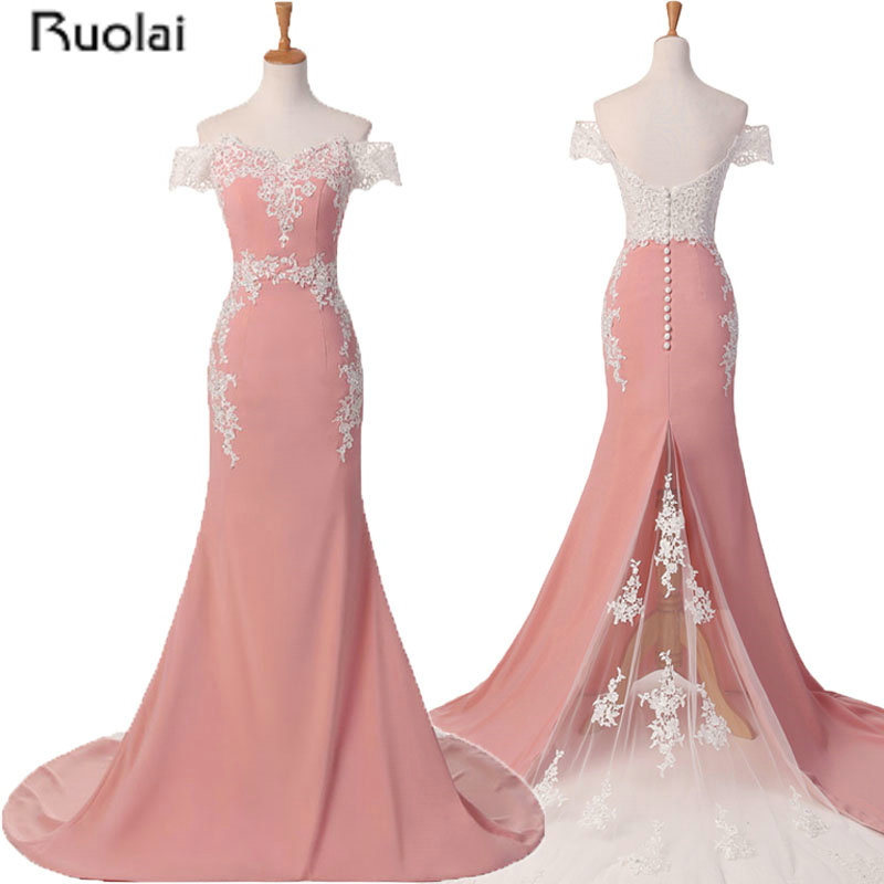 Pink Wedding Dresses For Sale Online: 2017 Hot Sale Custom Made Pink Lace Appliques Off The