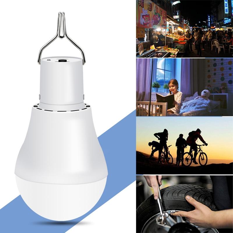 Outdoor Portable USB5V-8V Solar Lamp Hanging Hook LED Bulb Fishing Camping Tent Flashlight Emergency Light Bulb 15W 250LM 1000mA