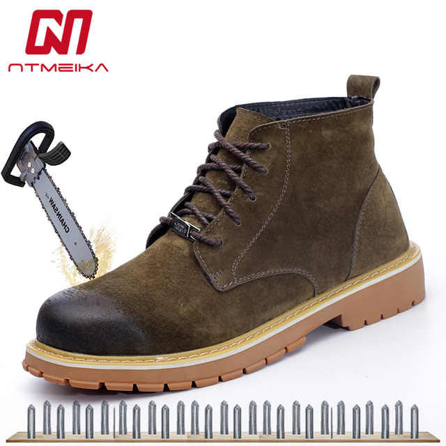 afd6081da2e US $39.6 34% OFF Aliexpress.com : Buy Fashion Men's Safety Shoes Steel Toe  Boots Genuine Leather Safety Boots Breathable Lace up Work Shoes Men Big ...