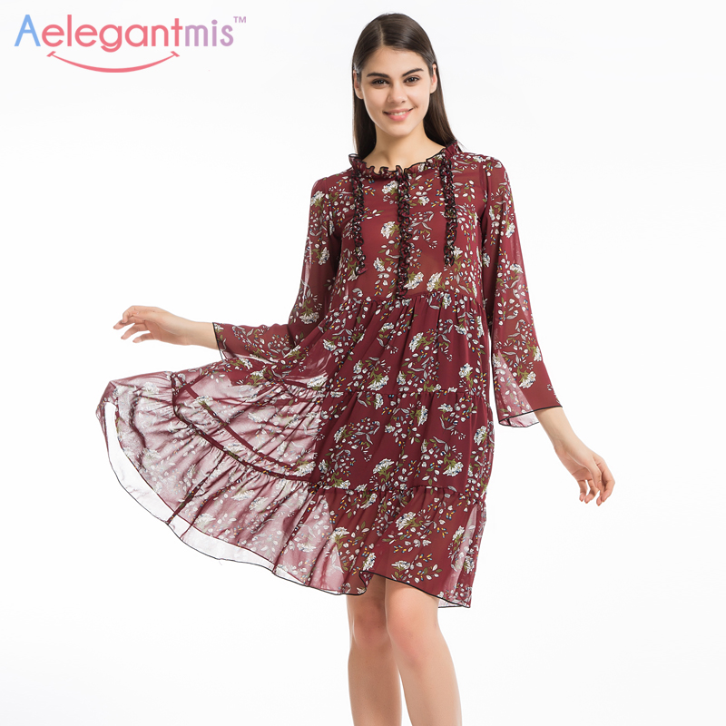 Aelegantmis Plus Size Chiffon Floral Dress Women 2017 Midi Loose Beach Summer Flower Print Dresses Long Sleeve Stringy Selvedge floral chiffon dress long sleeve