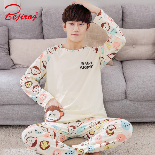 Bejirog Pajama Set Men Cotton Sleepwear Casual Male Sleep Clothing Long  Sleeved 7d7b7659c