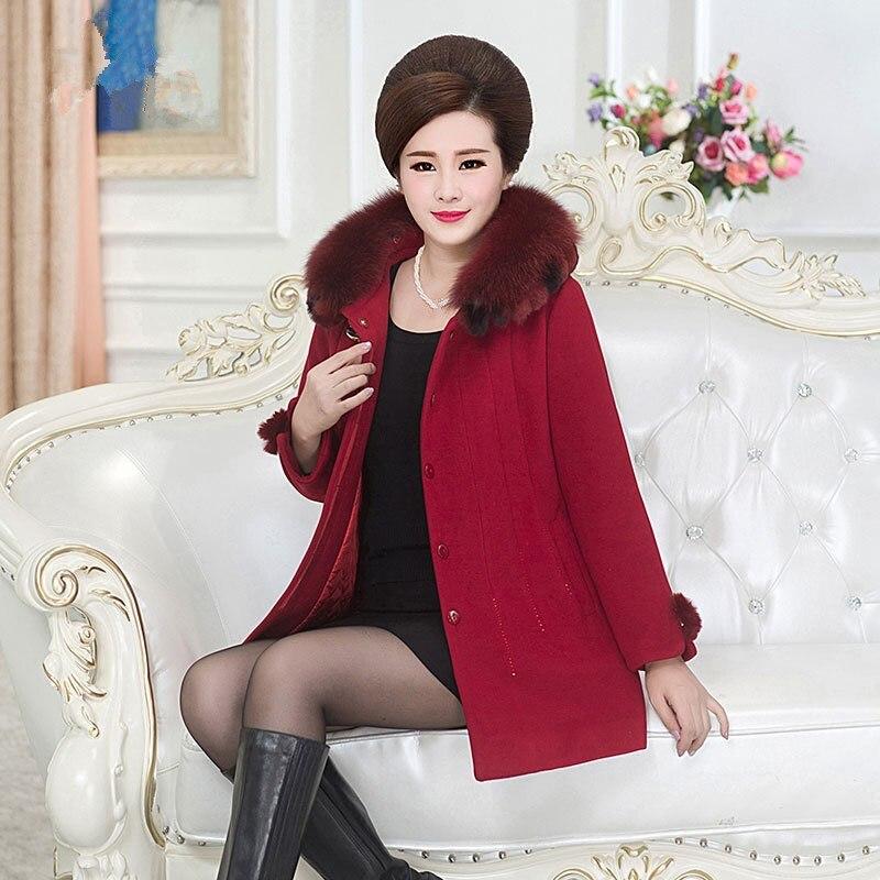 Moyen De Manteau Survêtement Long rouge Coréen Femmes âge coffee Laine Style Moyen Pourpre Élégant Cachemire Slim 2018 Hiver X6AnwYqPzx