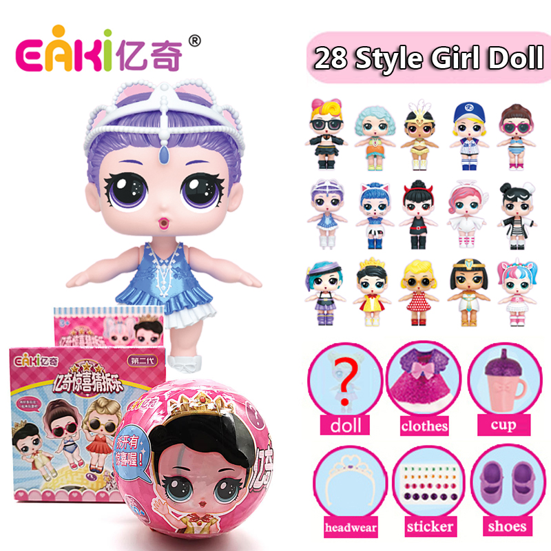 2019 New Genuine EAKI Bonecas Menina Kitty Modelo lol Glitter poupee Surpresa Originais Do Bebê Animal de Estimação Engraçado Da Novidade DIY Brinquedos Para Crianças presentes