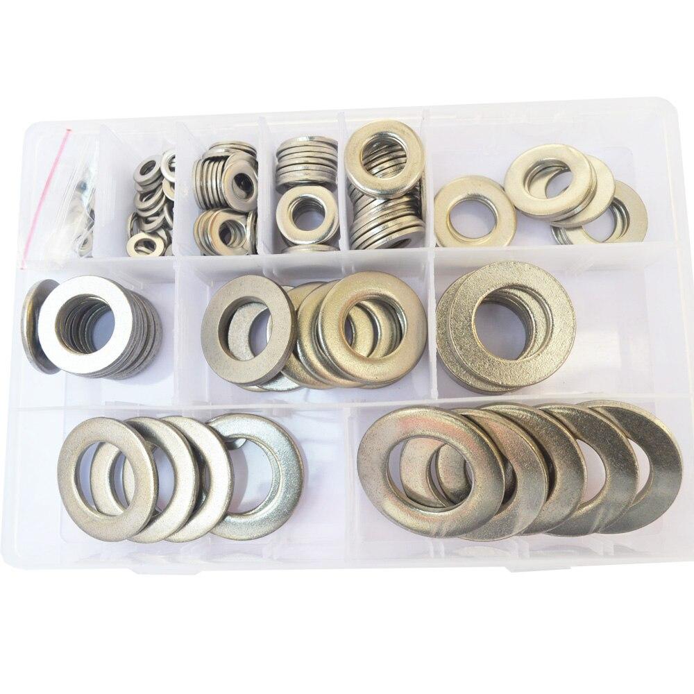 Large Flat Washer Metric screws bolt M5 M6 M8 M10 M12 M14 M16 M18 M20 M22 M24 Assortment Kit 304Stainless Steel 218pcs