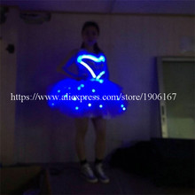 Blue LED Light Costumes Clothes Luminous Evening Dress LED Ballroom Dance Cosplay Halloween Suit  For Women DHL Free Shipping