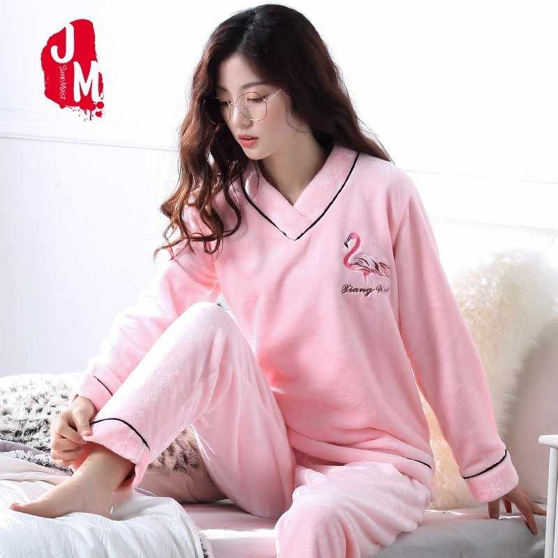 Autumn Pyjama Women Pullover Warm Thick Women Pajamas Sets Coral Fleece  Flannel Pajama Female Winter Soft 6720d59e3