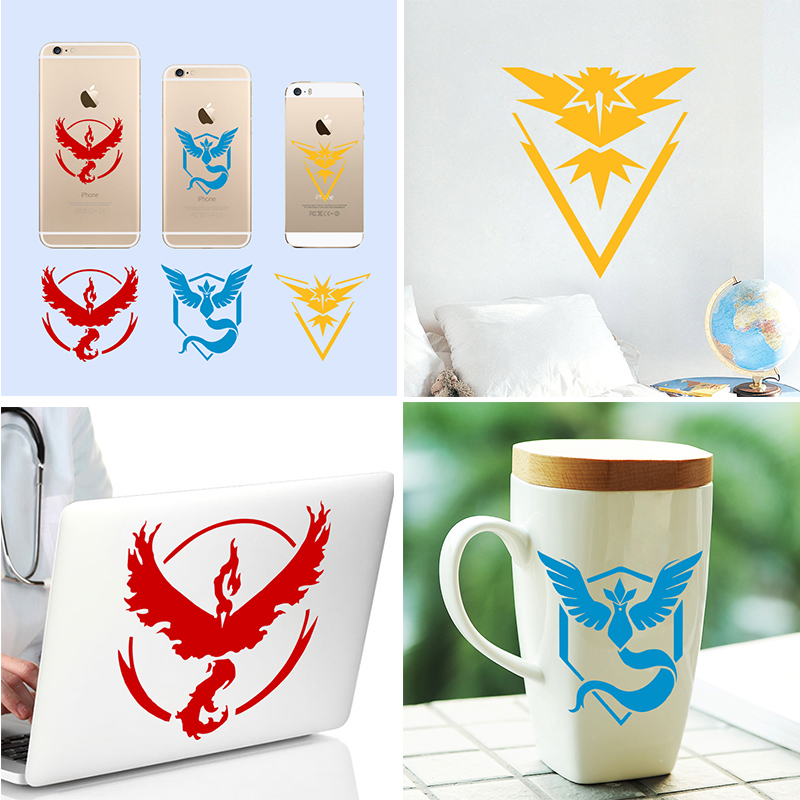 Valor Mystic Instinct pokemon go team wall stickers for kids room popular game pocket monster decals mural art posters cups