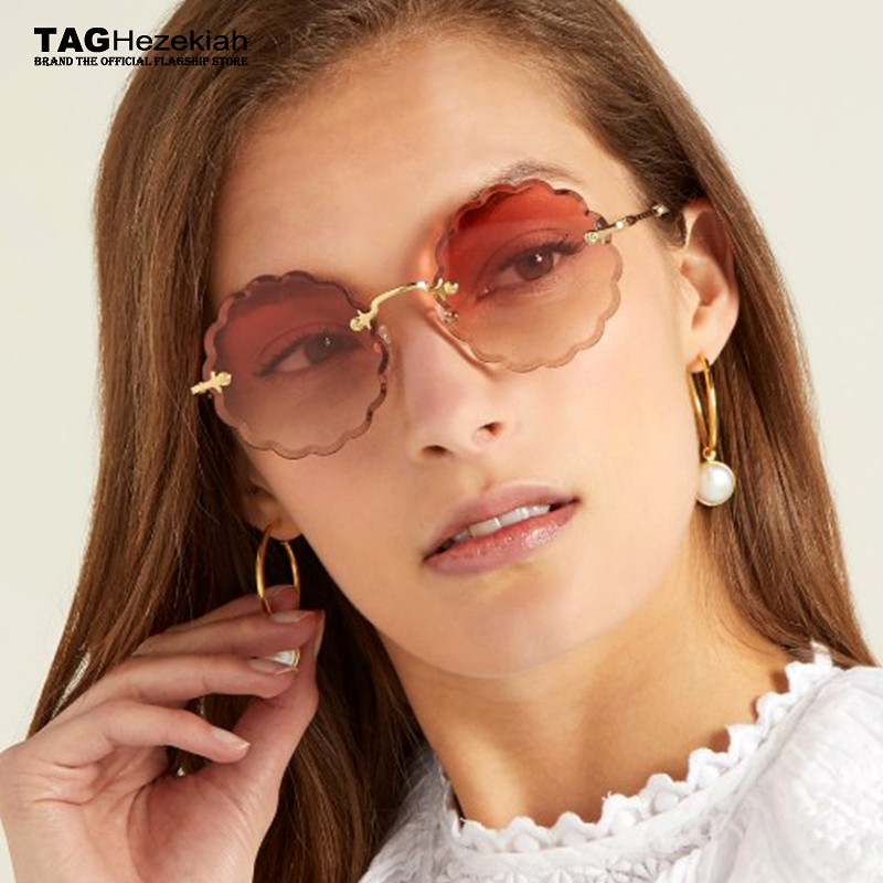 Round Frameless Sunglasses Vintage Women Flower petals Brand Designer Glasses Luxury Female Sun Glasses Fashion Sexy