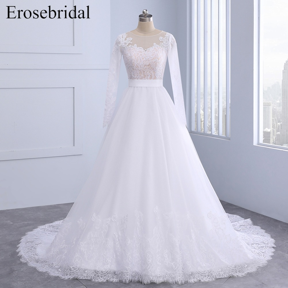 Autumn New Listed 2018 Wedding Dress Long Sleeve Plus Size Bridal Gown Lace  Skirt Edge Zipper Back With Button Vestido De Noiva-in Wedding Dresses from  ... c56140f288f0