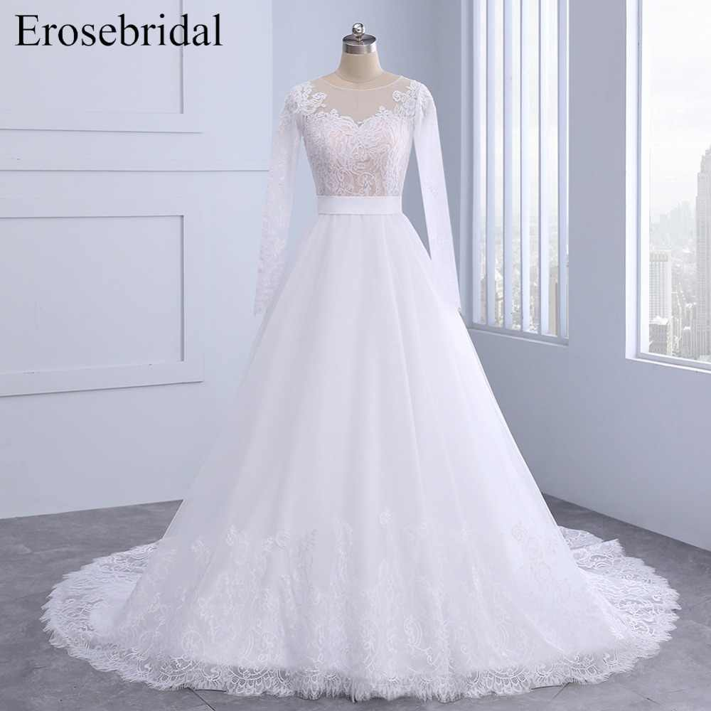 Autumn New Listed 2019 Wedding Dress Long Sleeve Plus Size Bridal Gown Lace Skirt Edge Zipper Back With Button Vestido De Noiva