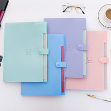 8d90a6fb3f2 Colorful A4 Kawaii Smile Face Waterproof 32.5 24cm PP File Folder 5 Layers  Document Bag Office Stationery School Supplies