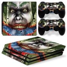 O joker sorriso príncipe palhaço do crime da pele adesivo decalque capa para ps4 playstation 4 pro pro console + 2 pcs controlador adesivos
