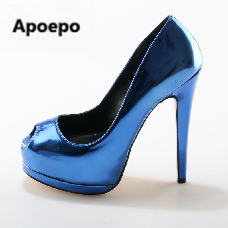 Apoepo Sexy Ladies High Inside Platform Shoes Shiny Leather peep Toe Pumps Ladies High Heels Pumps Female Night Club Dress Shoe peep inside night time