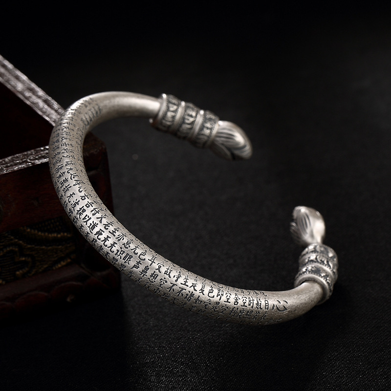 2018 Fashion, Silver, S999, Pure Silver, Antique, Matte, Lotus, Heart, Bracelet, Personality, And Silver.