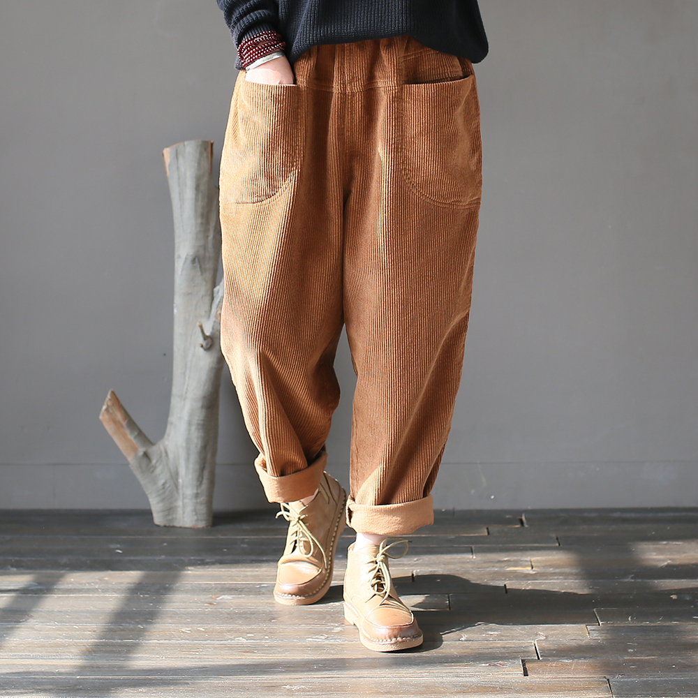 SCUWLINEN 2019 Spring Women Harem Pants Casual Solid Elastic Waist All-match Corduroy Cotton Pant Loose Pants For Women X01801