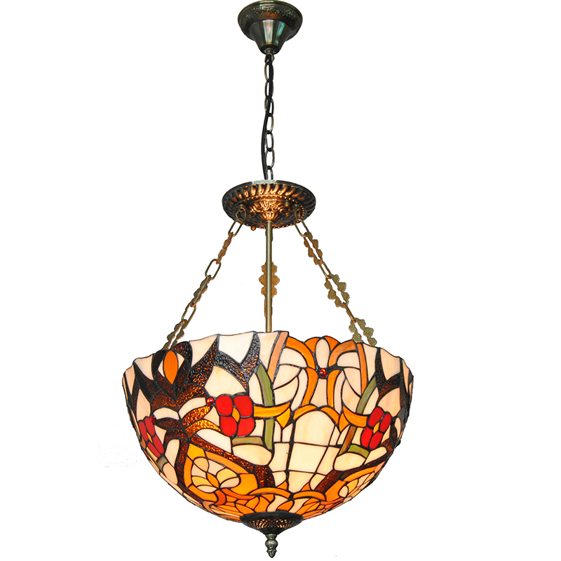 3 Lights European Vintage Flowers Patterned Inverted Pendant Lamp Antique Stained Glass Living Room Dining Room Lighting PL746 fumat stained glass pendant lamps european style glass lamp for living room dining room baroque glass art pendant lights led