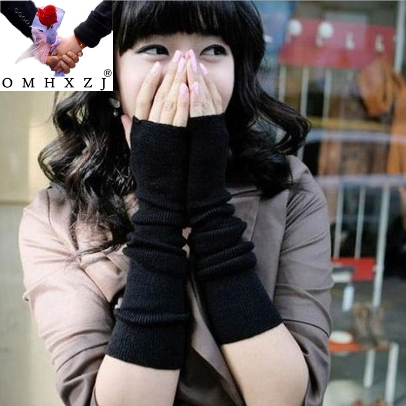 OMH Wholesale Black Solid Colors Woman Girls Novelty Fingerless Winter Warm Long Sleeves Knitted Cotton Gloves & Mittens ST40