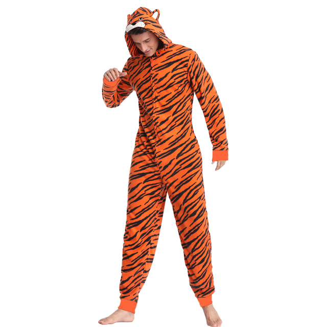 Orange Fleece Tiger Onesie Men – 21JS