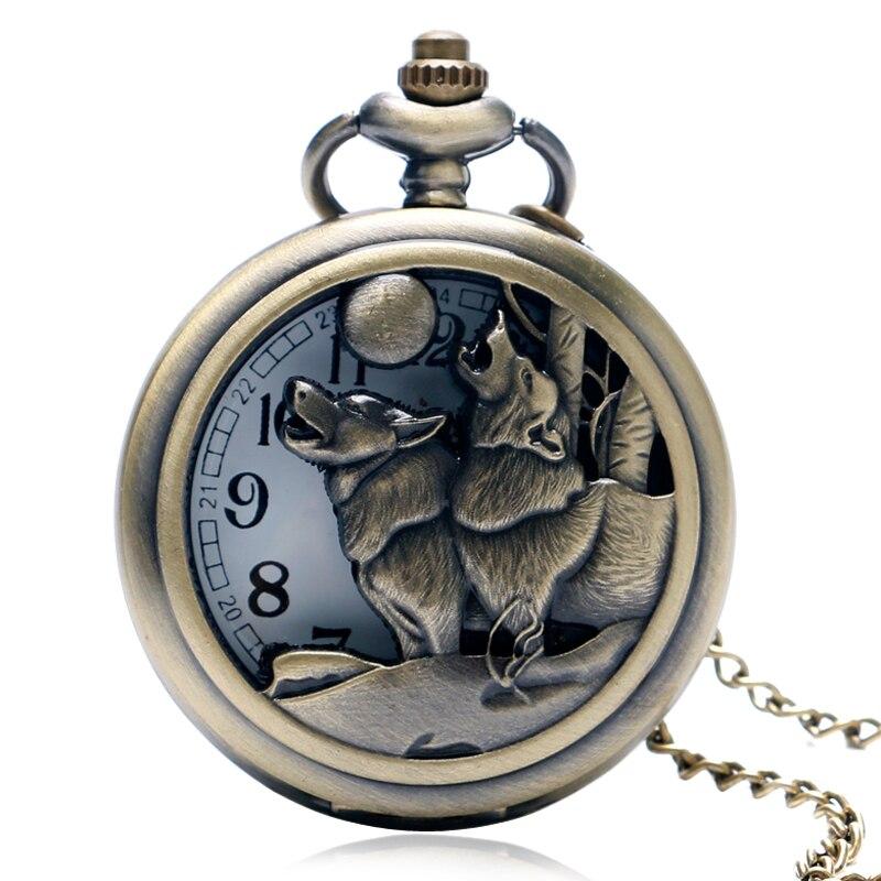 Vintage Retro Double Wolf And Moon Pendant Cool Bronze Quartz Pocket Watch Hollow Steampunk Necklace Men Gift Xmas