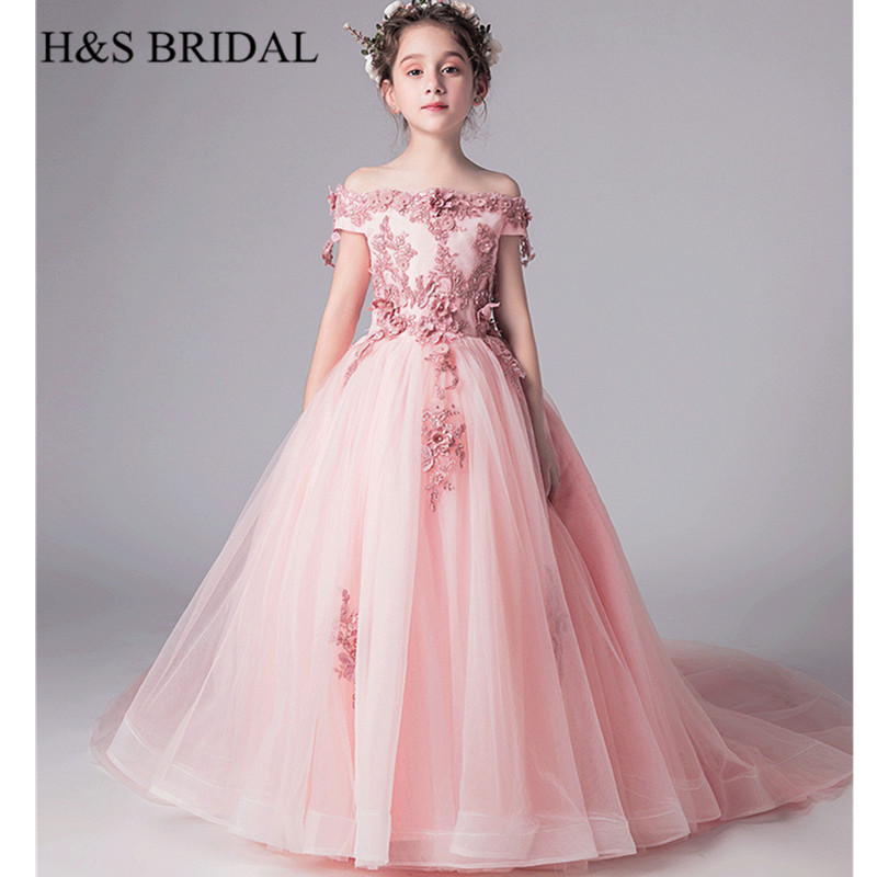 H&S BRIDAL Pink   flower     girl     dresses   Lace appliques Pageant ball gown comunion   dress     girls     dress   for wedding especial novedades