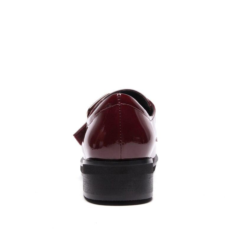 Talon 43 Lady rouge Mocassins En Casual Grande À Chunky Noir Chaussures Véritable Cuir Faible Taille Femme Femmes Nemaone Brock Bx1qawtn
